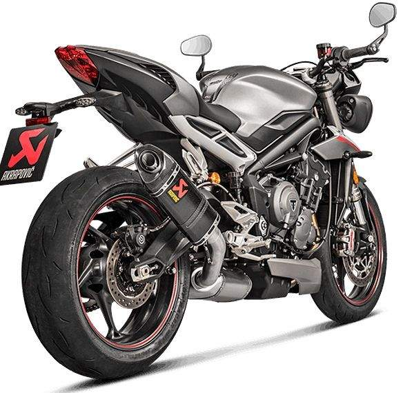 Escape Titanio Akrapovic Triumph Street Triple 765 vista lateral