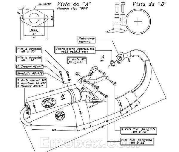 LeoVince Peugeot Speedfight 4/ 50cc, 2 tiempos Tubo de escape TT deportivo para Peugeot Speedfight 3/50