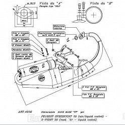 Escape Leovince Peugeot Speedfight 50 (refrigeracion por agua) 1997-1999 Hand Made TT homologado 4056