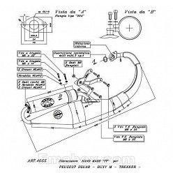 Escape Leovince Peugeot Squab 50 1995-1997 Hand Made TT homologado 4055