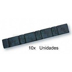 10 tiras de pesas para equilibrado de rueda en acero color negro