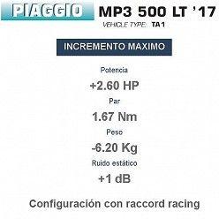 Potencia escape Piaggio MP3 500 LT 2017-2018 Arrow Urban Aluminio Dark
