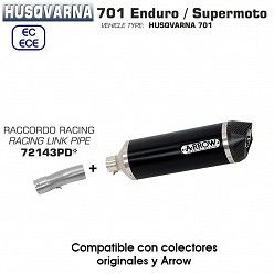 Escape Husqvarna 701 2017-2018 Arrow Race-Tech Aluminio Dark