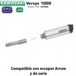 Escape Arrow Kawasaki Versys 1000 2012-2016 Race-Tech Aluminio copa Carbono