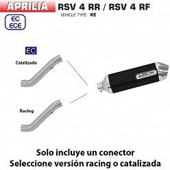 Escape Aprilia RSV4 RR - RF 2017-2018 Arrow Racetech Aluminio Dark copa Carbono