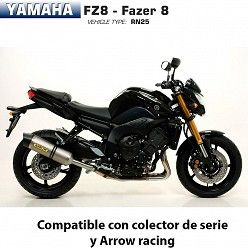 Escape Arrow Yamaha FZ8 2010-2016 Race-Tech Titanio copa Carbono