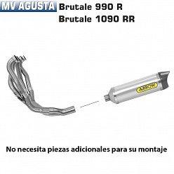 Escape completo Arrow MV Agusta Brutale 920 2011-2012 Street Thunder Aluminio copa Carbono