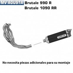 Escape completo Arrow MV Agusta Brutale 1090RR 2010-2014 Street Thunder Dark Aluminio copa Carbono