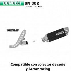 Escape Benelli BN 302 2017-2019 Arrow Thunder Aluminio Dark copa Inox