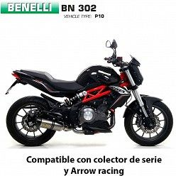 Escape Benelli BN 302 2017-2019 Arrow Thunder Titanio copa Carbono