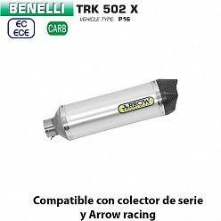 Escape Benelli TRK 502 X 2018-2019 Arrow Race-Tech Aluminio copa Carbono