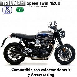 Escapes Triumph Speed Twin 1200 Arrow ProRacing Nichrom Dark copa Carbono